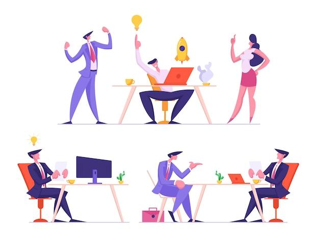 Conjunto de equipo de empresarios desarrollando un proyecto de inicio e idea creativa