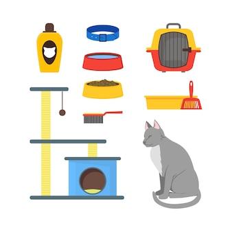 Conjunto de equipo de gato de dibujos animados, accesorios y comida para mascotas