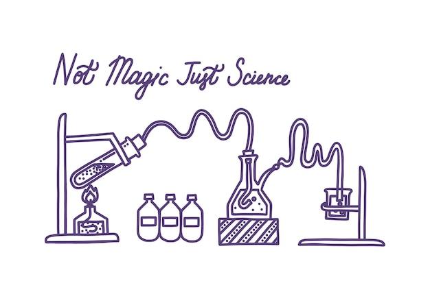 Conjunto de equipo de laboratorio químico frascos de vidrio, tubo de ensayo, lámpara de espíritu y agentes químicos
