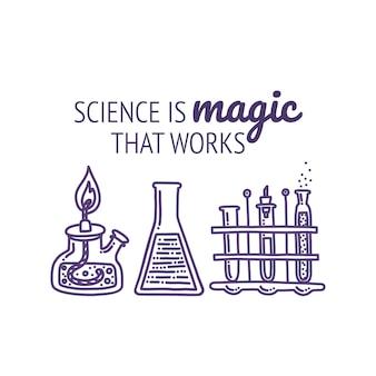Conjunto de equipo de laboratorio químico con tipografía frascos de vidrio, tubos de ensayo y agentes químicos