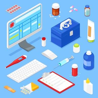 Conjunto de equipo médico isométrico y ordenador.