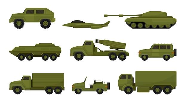 Conjunto de equipo militar aislado en blanco