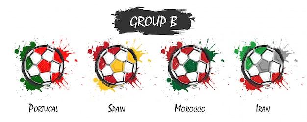 Conjunto del equipo nacional de fútbol grupo b. pintura realista del arte de la acuarela con chapoteo manchado