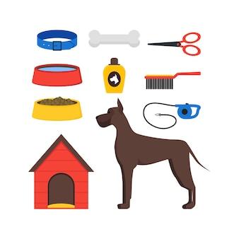 Conjunto de equipo para perros de dibujos animados, accesorios y comida para mascotas Vector Premium