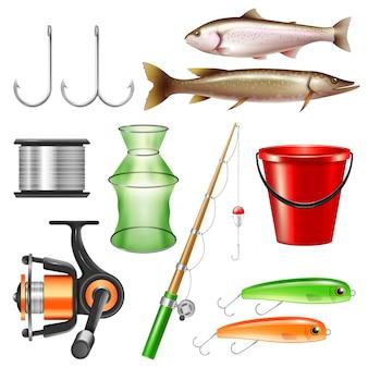 Conjunto de equipo de pesca realista
