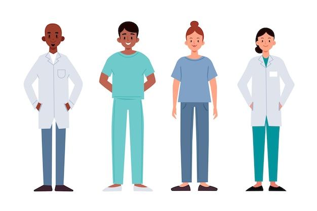 Conjunto de equipo profesional de salud