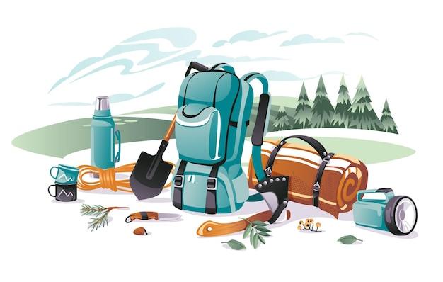 Conjunto de equipos para acampar y escalar en un paisaje. mochila, alfombra, pala, hacha, linterna, termo. dibujos animados