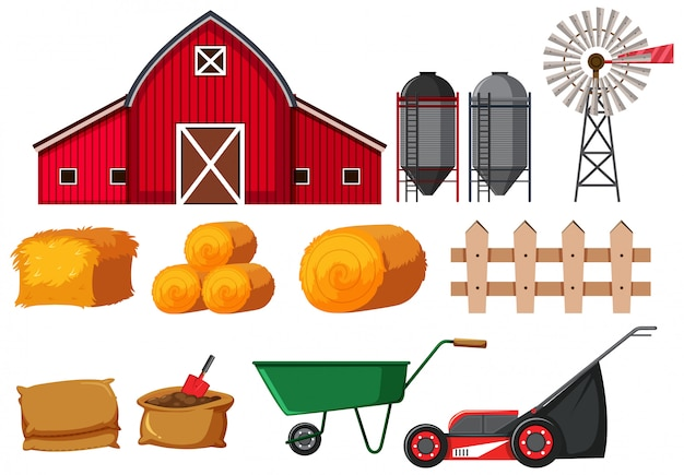 Conjunto de equipos agrícolas sobre fondo blanco.