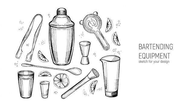 Conjunto de equipos de barman. coctelera, aparejo, cuchara, vaso mezclador, muddler, colador, pinzas para hielo. boceto dibujado a mano