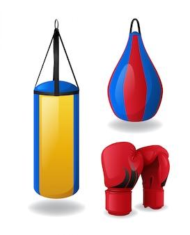 Conjunto de equipos de boxeo aislado, guantes rojos y sacos de boxeo