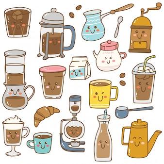 Conjunto de equipos de café en estilo doodle de kawaii