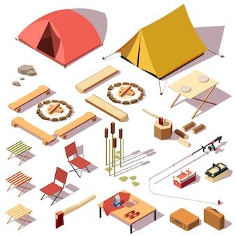 Conjunto de equipos de camping.