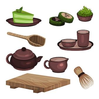 Conjunto de equipos para la ceremonia del té, símbolos de la hora del té y accesorios ilustraciones de dibujos animados