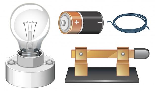 Conjunto de equipos científicos para hacer electricidad.