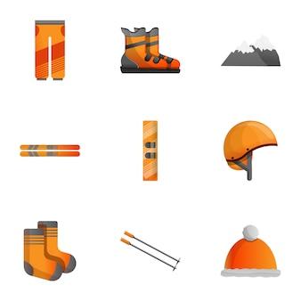 Conjunto de equipos de esquí, estilo de dibujos animados