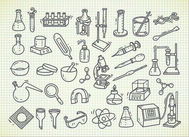 Conjunto de equipos de laboratorio en estilo doodle.