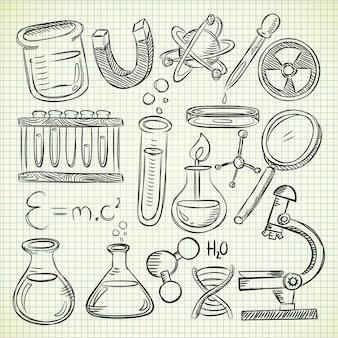 Conjunto de equipos de laboratorio en estilo doodle
