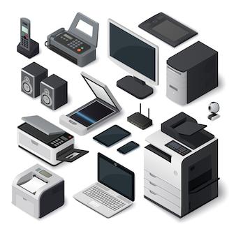 Conjunto de equipos de oficina isométrica.