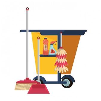 Conjunto de equipos y productos de limpieza.