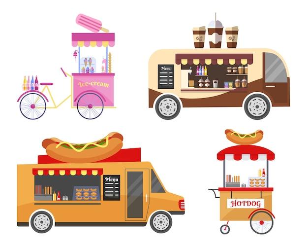 Conjunto de equipos de transporte de comida callejera y comida rápida.