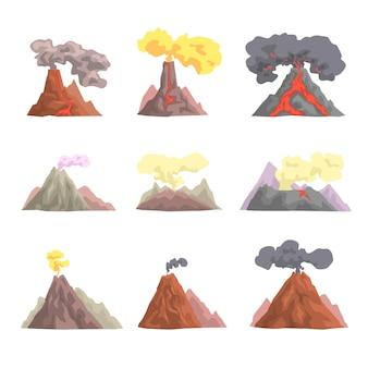 Conjunto de erupción de volcán, magma volcánico explotando, lava que fluye hacia abajo ilustraciones de dibujos animados