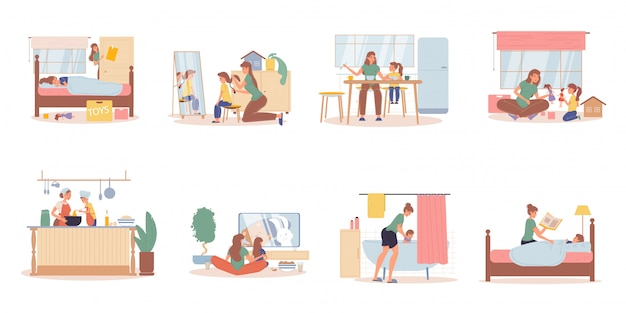 Conjunto de escena de actividades de vida diaria de madre hija