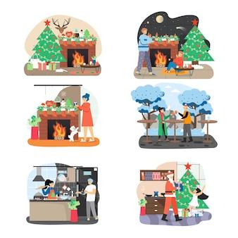 Conjunto de escena de año nuevo y navidad.