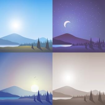 Conjunto de escena de bosque de lago salvaje de montaña montañosa de paisaje plano