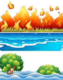 Conjunto de escena del desastre natural