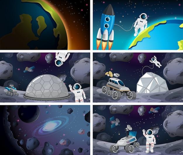 Conjunto de escena espacial enorme