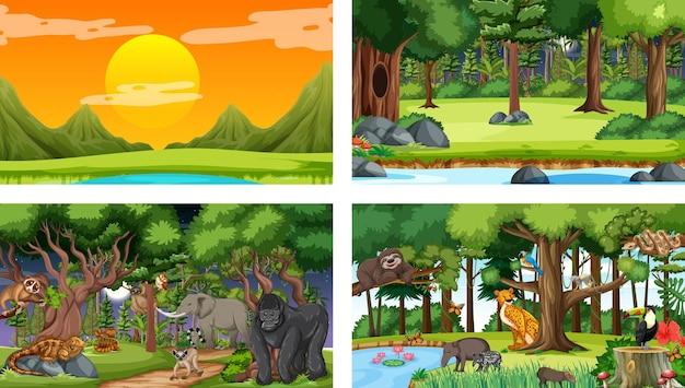 Conjunto de escena horizontal de bosque diferente con varios animales salvajes.