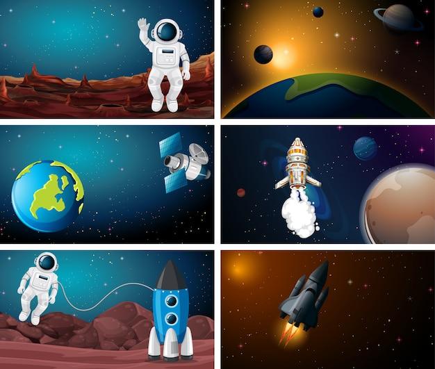 Conjunto de escena de ilustración espacial