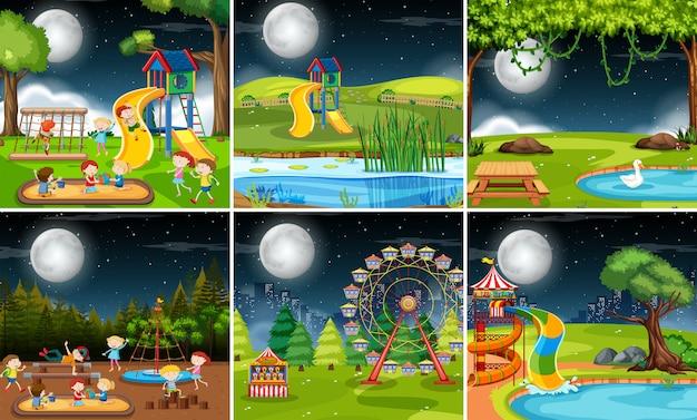 Conjunto de escena de juegos por la noche