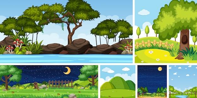 Conjunto de escena de lugar de naturaleza diferente en escenas verticales y de horizonte durante el día y la noche