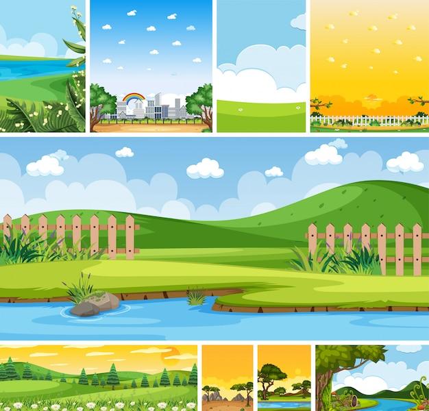 Conjunto de escena de lugar de naturaleza diferente en escenas verticales y de horizonte durante el día