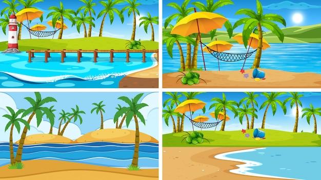 Conjunto de escena de la naturaleza del océano tropical o de fondo con playas