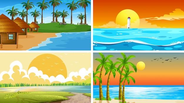 Conjunto de escena de la naturaleza del océano tropical o fondos con playas