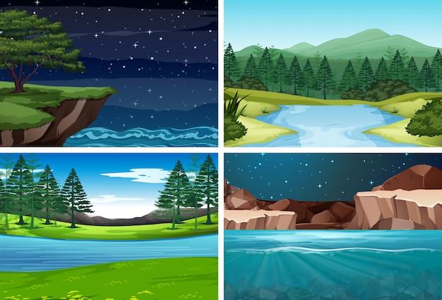 Conjunto de escena de la naturaleza