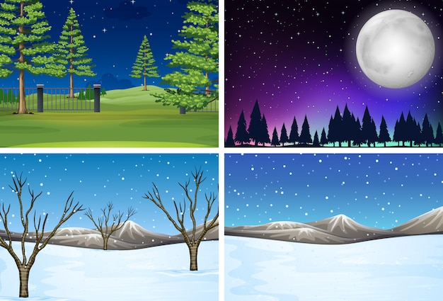 Conjunto de escena de paisaje de naturaleza
