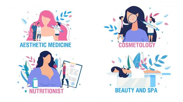 Conjunto de escena de personas de atención y tratamiento de salud femenina