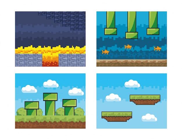 Conjunto de escena pixelada de videojuego.