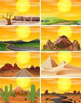 Conjunto de escena puesta de sol
