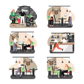 Conjunto de escena de restaurante, ilustración aislada de vector plano.