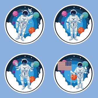 Conjunto de escenarios astronauta y galaxia.