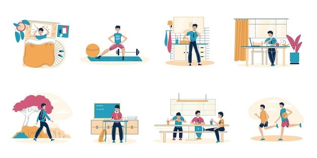 Conjunto de escenas de actividad de rutina de horario de vida diaria de colegial joven.