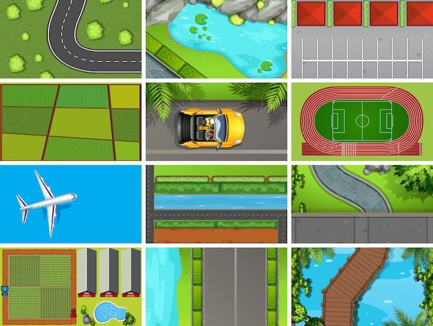 Conjunto de escenas aéreas de la vista superior en la naturaleza y al aire libre