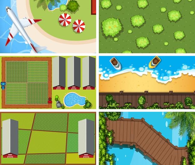 Conjunto de escenas aéreas de vista superior o de fondo en la naturaleza y al aire libre.