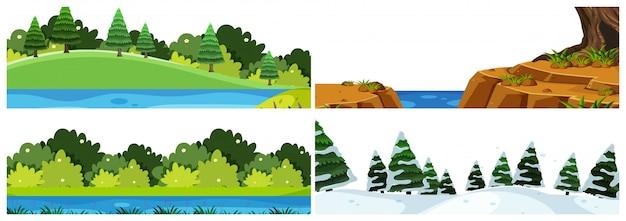 Un conjunto de escenas al aire libre que incluye agua