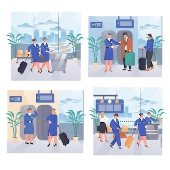 Conjunto de escenas de concepto de aeropuerto.