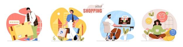 Conjunto de escenas de concepto de compras los compradores con compras en paquetes realizan compras en línea reciben paquetes con pedidos actividades de recolección de personas